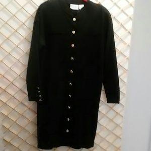 Liz Claiborne size L knit dress, black w/ gold